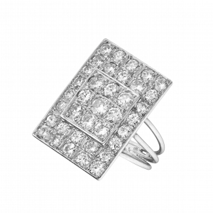 Bague rectangle pavée diamants vers 1950