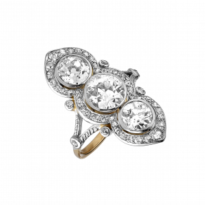 "Bague ""Marquise"" diamants Belle Epoque"