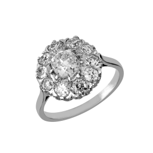 "Bague platine dite ""Pompadour"" diamants vers 1880"