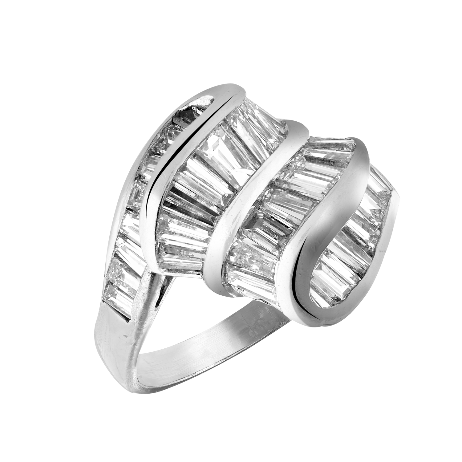Bague volutes diamants baguettes Gerphagnon