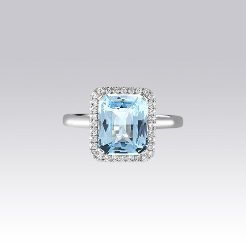 Bague topaze bleue rectangle Gerphagnon