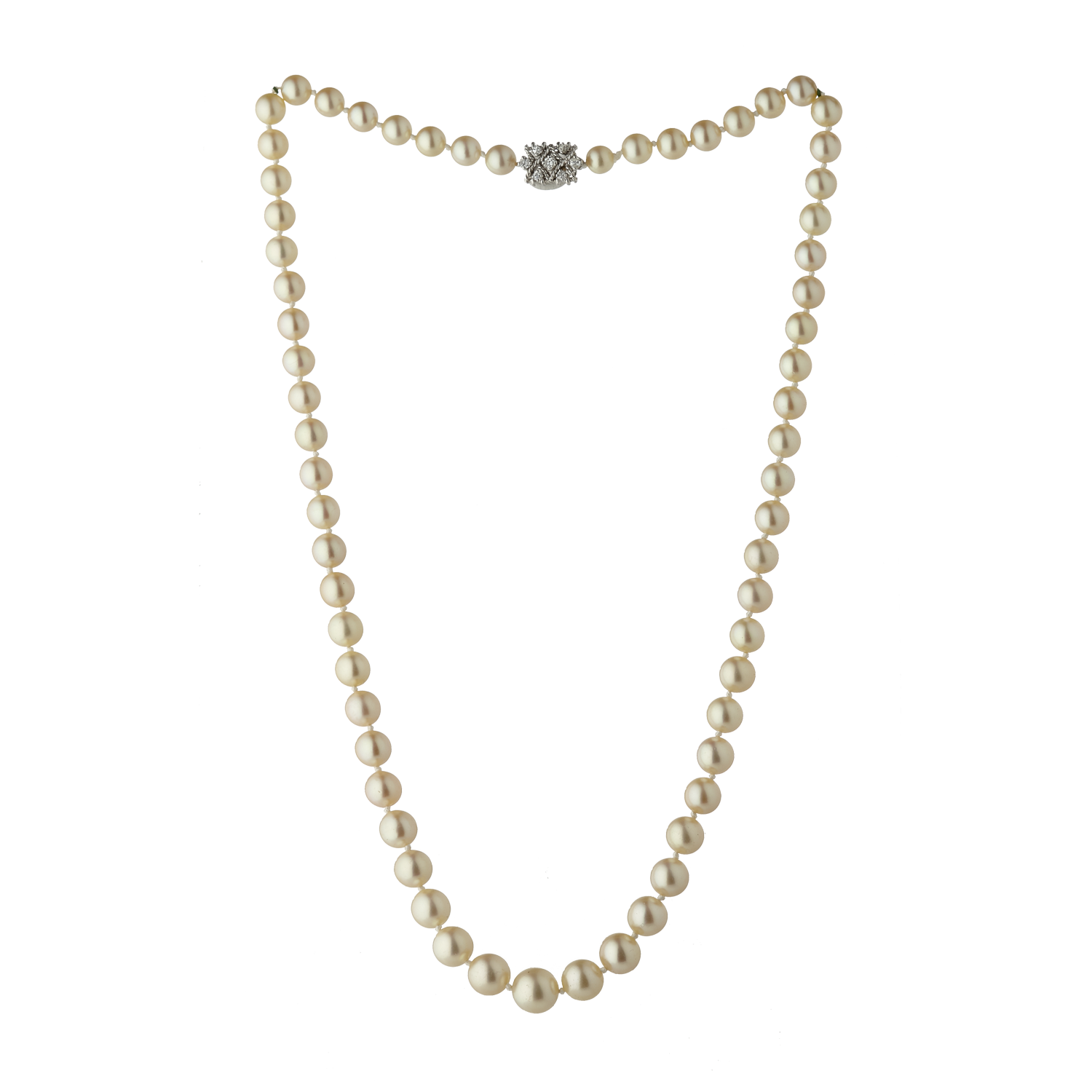 Collier de perles en chute fermoir diamants Gerphagnon
